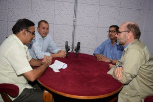 (clock-wise: Kaushik Roy, Stephan Buse, Rajnish Tiwari and Cornlius Herstatt; at the All India Radio in New Delhi. Photo courtsey: All India Radio)